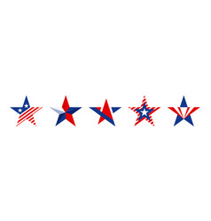 star shapes set in red blue and white color vector image