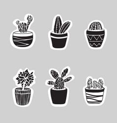 sticker cacti set cute vector image