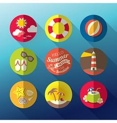 Summer flat icon set vector image