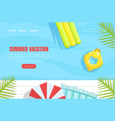 summer vacation landing page template summertime vector image