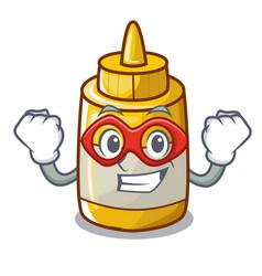 super hero character bottle style mustard sauce vector image