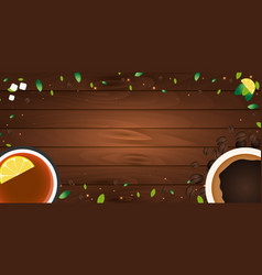 tea poster cup of tea with lemon wooden vector image
