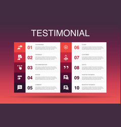 Testimonial infographic 10 option template vector
