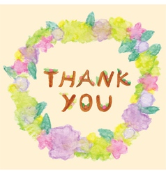 Thank you word in floral frame vector image