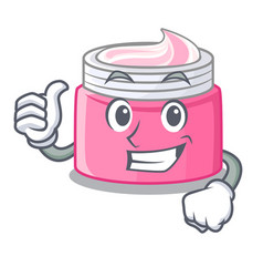 Thumbs up face cream in the cartoon form vector
