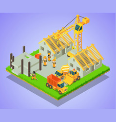 Township concept banner isometric style vector
