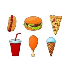 Traditional fast food menu snacks vector