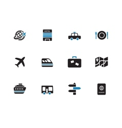 Travel duotone icons on white background vector