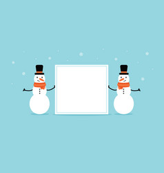 Two snowmen holding a blank empty card vector