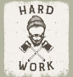 Vintage prints label for lumberjack style vector