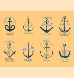 Vintage retro anchor badge sign sea ocean vector