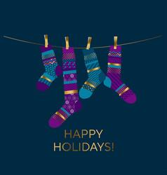violet and blue xmas socks design element vector image