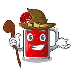 witch tasty tomato juice on cartoon table vector image