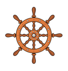 wooden ship wheel on white background vector image