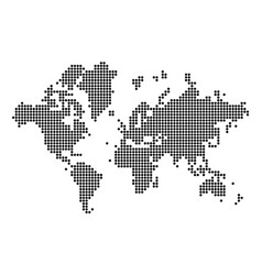 world map silhouette world map in dots vector image