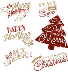 Xmas and NY stickers and logotypes set vector image