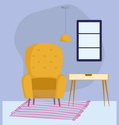 yellow chair table ceiling lamp window and carpet vector image
