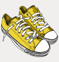 yellow sneakers - hand drawn vector image