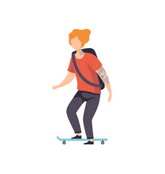 young man riding skateboard guy having tattoo on vector image