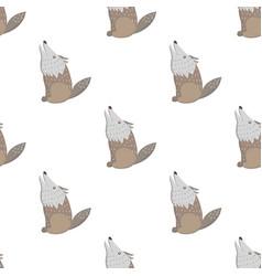 cartoon wolf seamless pattern on white vector image