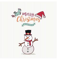 christmas and new year cute snowman cartoon card vector image vector image