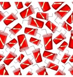 Fast food takeaway soda drinks seamless pattern vector image vector image