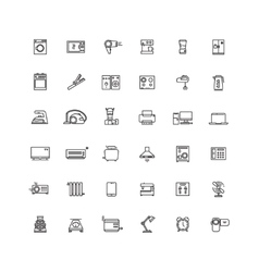 Household appliances line icons vector image