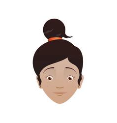 Kid child girl head avatar vector