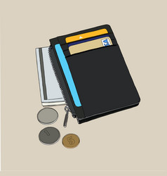 wallet with money and credit cards vector image vector image