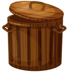 wooden trashcan with lid vector image vector image