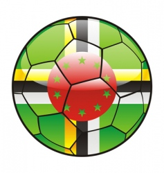 dominica flag on soccer ball vector image vector image