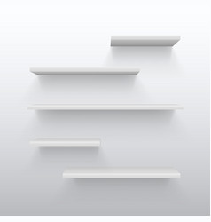 empty white trading 3d shelves with shadow on wall vector image vector image