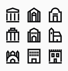 Line buildings icons vector image vector image