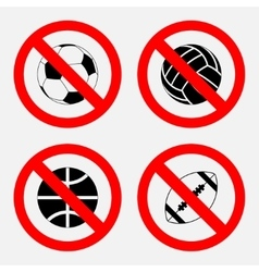 prohibition sign sports game no play play vector image