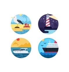 Sea travel set icons vector image