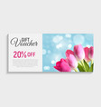 gift voucher card template with flowers 3d vector image