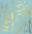 a pattern with wildflowers with imitation gold vector image vector image