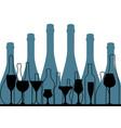 alcoholic bar menu blue vector image vector image