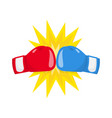 boxing gloves fight icon red vs blue vector image vector image