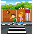 Boy and girl on the pavement vector image vector image