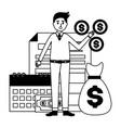 businessman money bag tax vector image vector image
