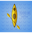 canoe icon kayak on blue waves summer icon vector image