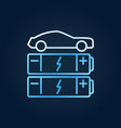 car with blue batteries line icon ev vector image vector image