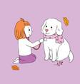 cartoon cute autumn girl playing dog vector image vector image