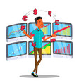 character online trader juggles currency vector image