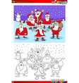 christmas santa claus group coloring book vector image vector image