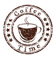 coffee time grunge stamp with a cup vector image