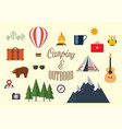 collection camping elements in flat design vector image vector image