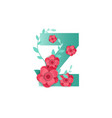 color letter z with beautiful flowers vector image vector image