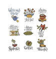 cozy fall lettering set vector image vector image